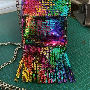 the flask clutch Other - 12 oz rainbow mermaid sequins flask purse